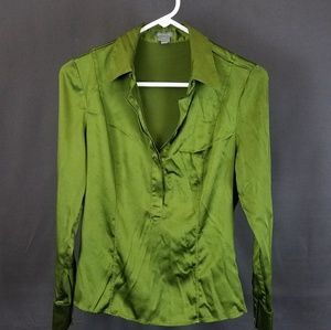 3 for $10 - Green shiny silk blouse size 6